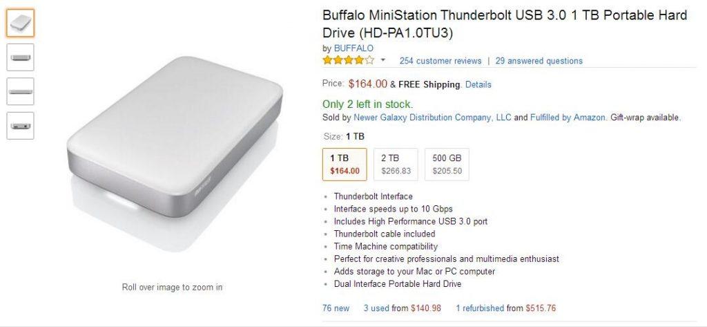 Thunderbolt接口移动硬盘 BUFFALO MiniStation 1 TB Thunderbolt